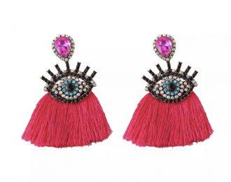 Eye Tassel Pink Earrings